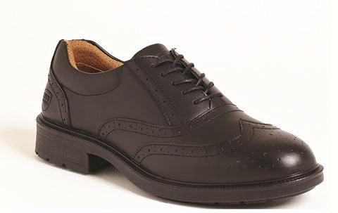 Black Leather Brogue Safety Shoes # SS500
