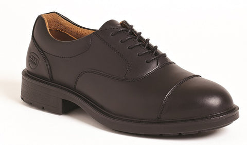 Black Leather Oxford Safety Shoe # SS501