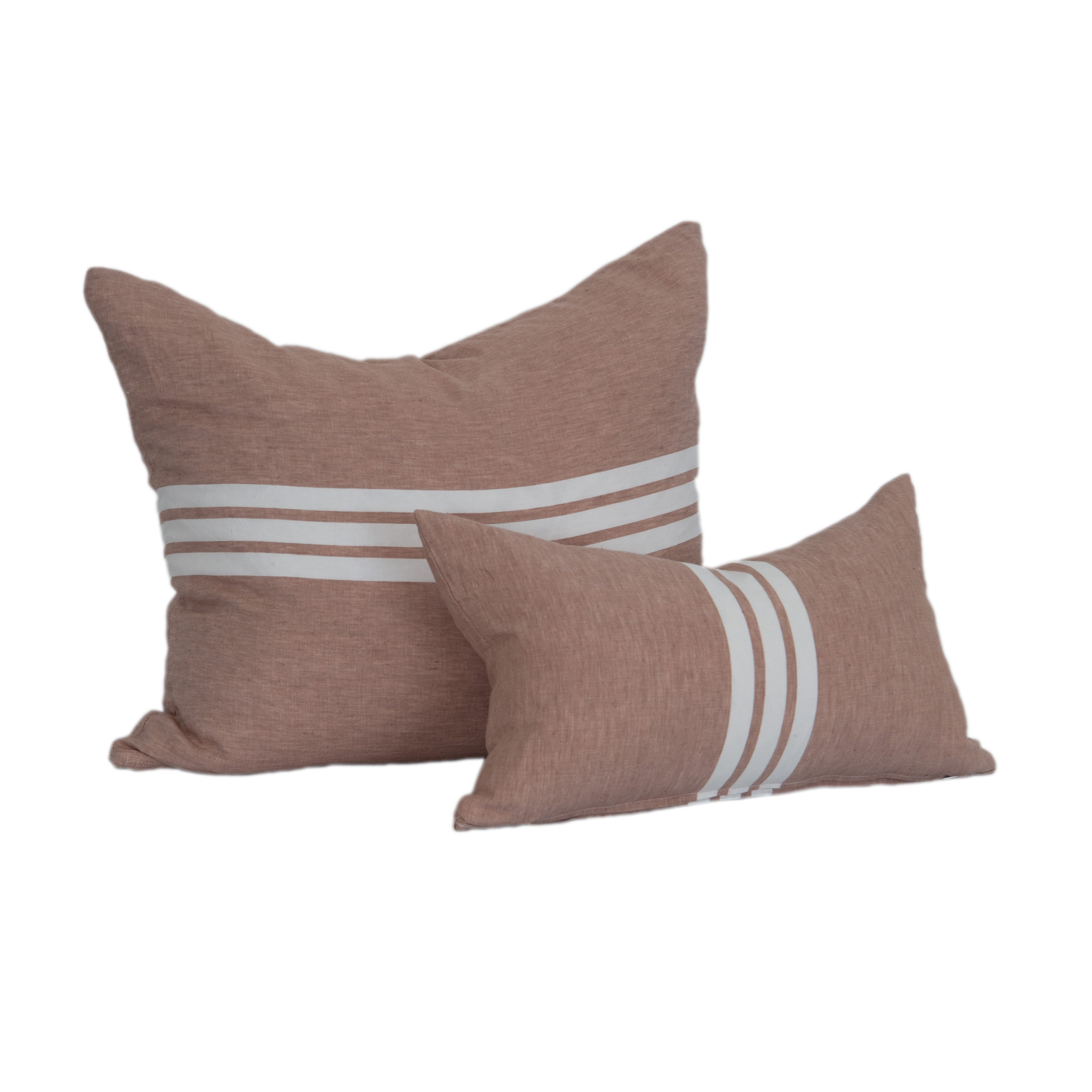 Coral Linen Striped Pillow