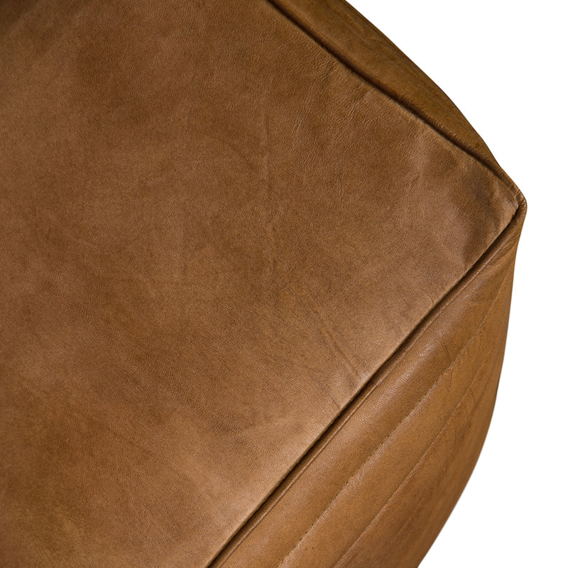 Romeo Square Leather Pouf