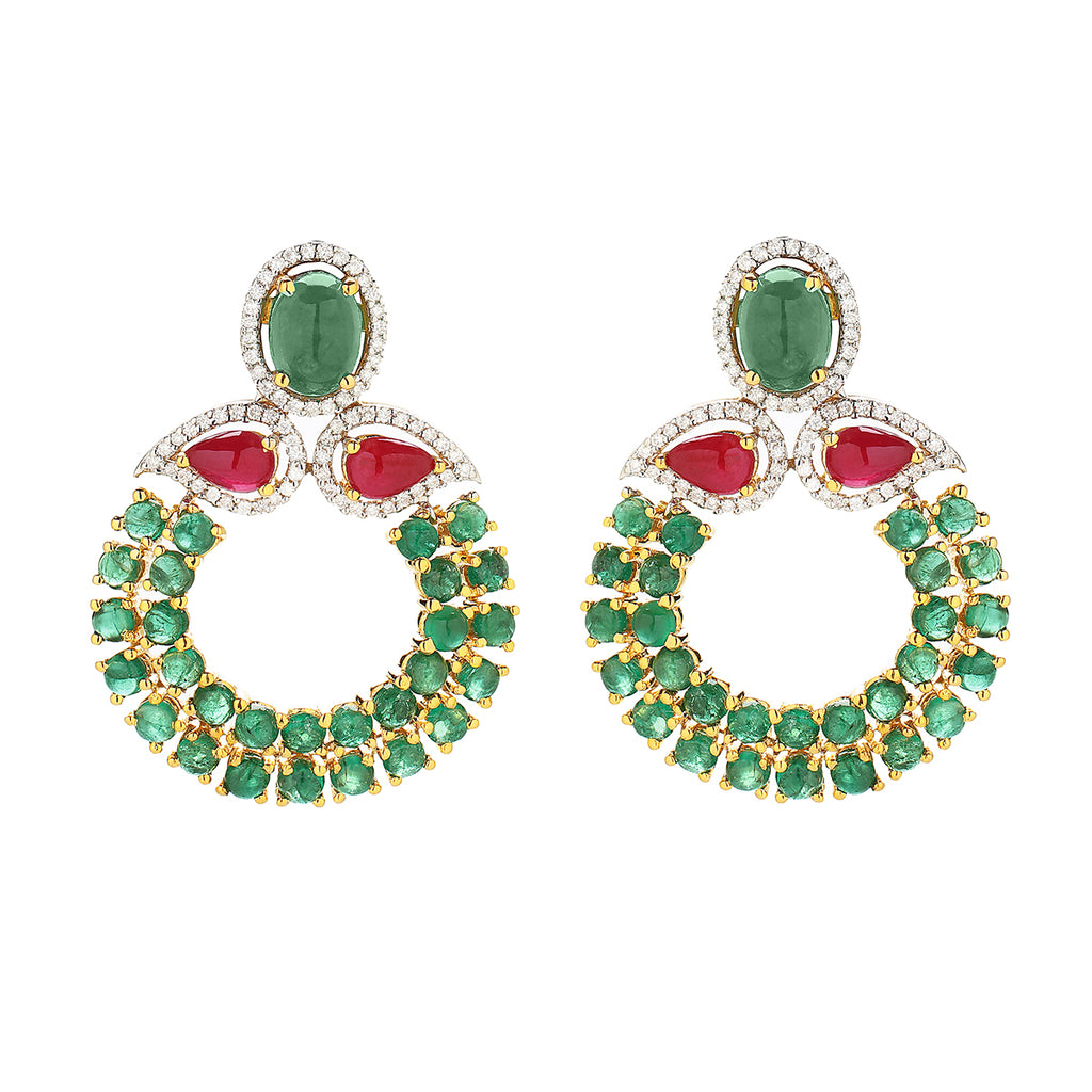 Emerald - Ruby Small Chand Bali
