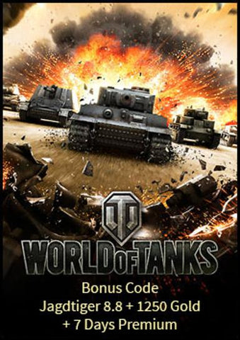 World of Tanks Bonus Code (Jagdtiger 8.8 + 1250 Gold + 7 Days Premium)
