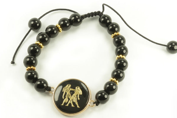 Zodiac Picture Black Gold Bracelets