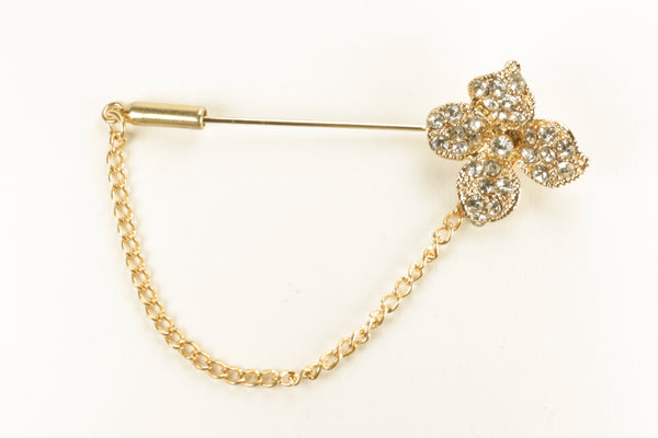 Flower Gold Diamond Long Hijab Pins