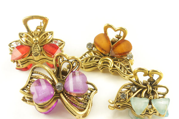 Gemstone Butterfly Hair Clips