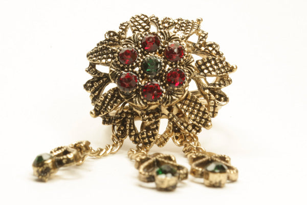 Vintage Hijab Rings Green Red