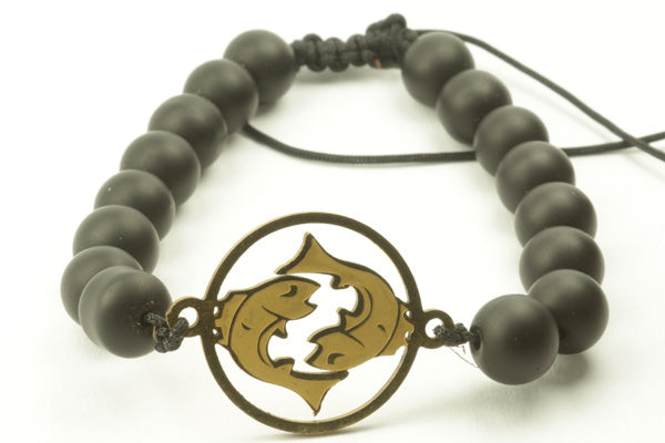 Zodiac Picture Matt Black Bracelets