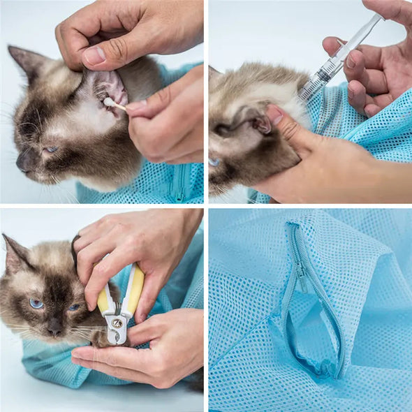 Creative Life Adjustable Multifunctional Polyester Cat Washing Shower Mesh Bags