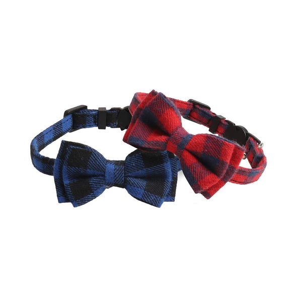 Pet Collar with Pattern Cute Bow Tie and Bell 2 Pack