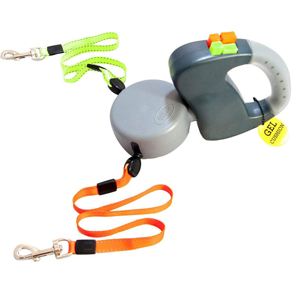 Dual Doggie Reflective Retractable Pet Leash