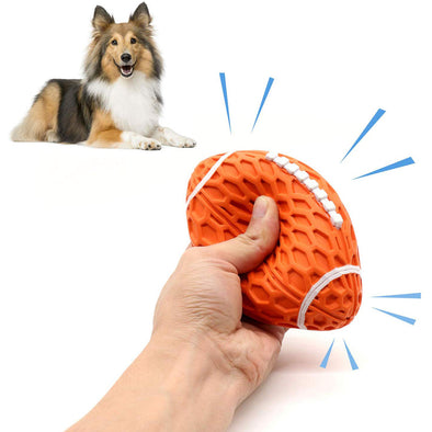 Dog Playing Classic Squeak Ridged Football