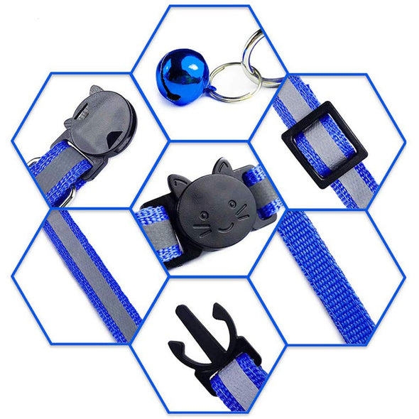 Breakaway Cat Reflective Collar with Bell 6 Pack