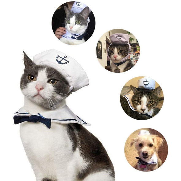 Pet Sailor Costume, Navy Hat Tie Set