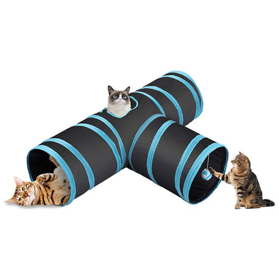 Prosper Pet Cat Tunnel - Collapsible 3 Way Play Toy