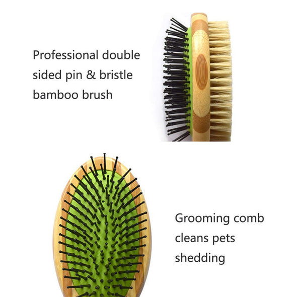 Professional Double Sided Pin & Bristle Bamboo Brush for Pet