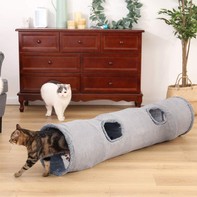Collapsible Cat Playing Durable Hideaway Tunnel with Ball