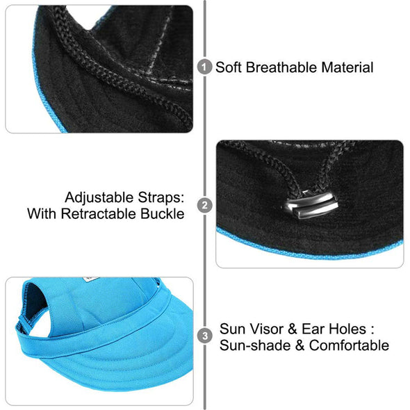 Sport Hat/Visor Cap with Ear Holes and Chin Strap for Pet