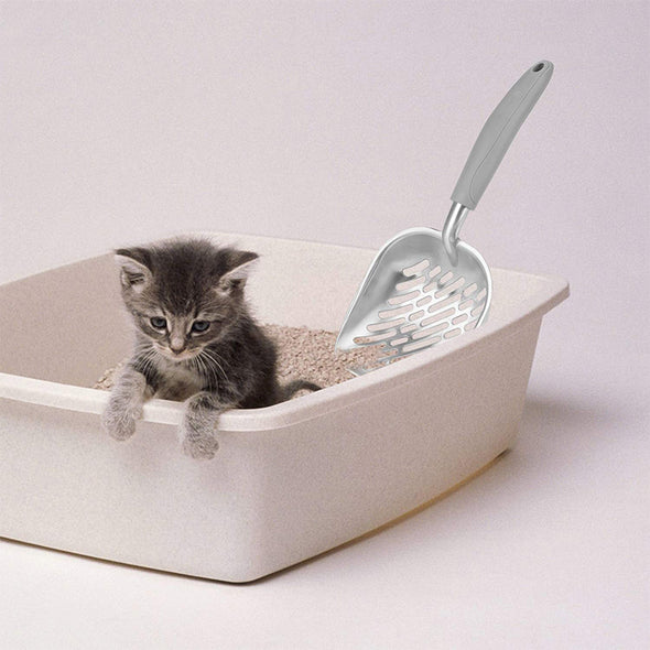 Cat Litter Solid Aluminum Scoop with Flexible Long Handle