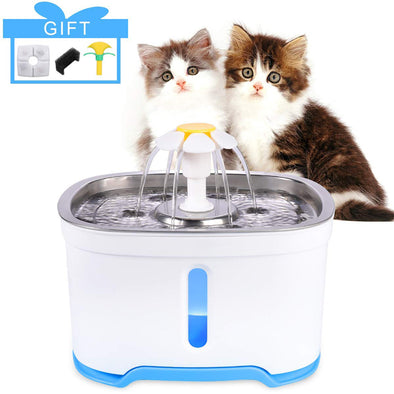 84oz/2.4L Automatic Pet Water Fountain With Filter & Led Lights
