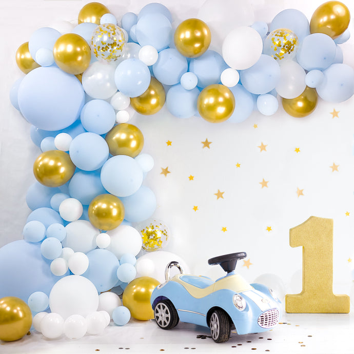 Baby Balloon Garland Kit | 120 Pack | Baby Blue, Chrome Gold, Pearl White, White