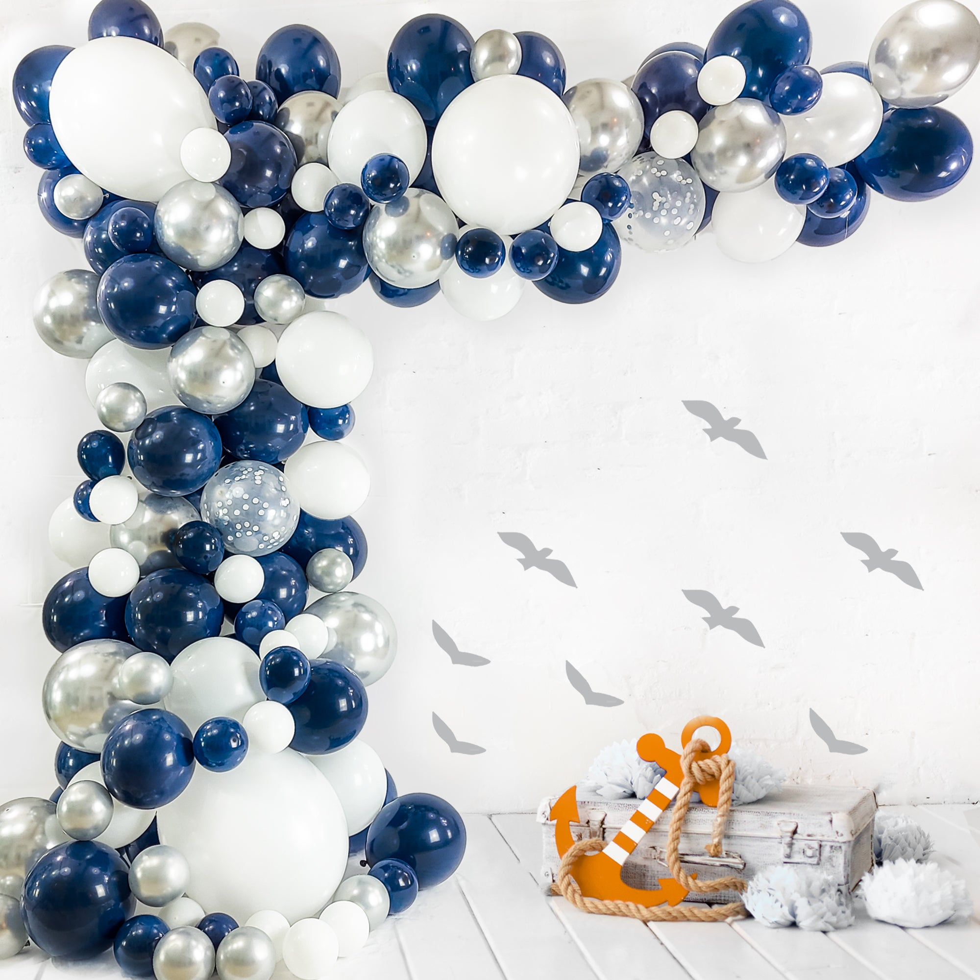 Navy Blue Balloon Garland Kit 120 Pack Navy Blue Chrome Silver W Bloonsy Balloon Garlands