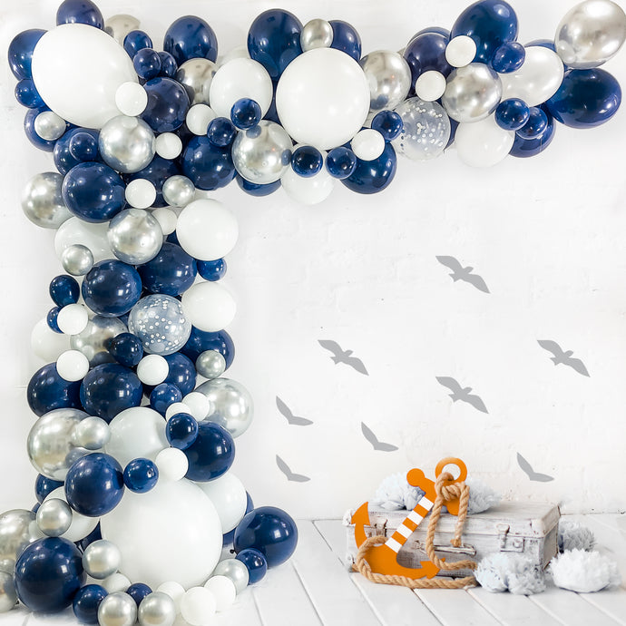 Navy Blue Balloon Garland Kit | 120 Pack |  Navy Blue, Chrome Silver, White, Silver Confetti Balloons