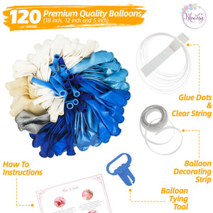 Blue Balloon Garland Kit | 120 Pack | Silver Confetti, Navy Blue, Royal and Light Blue Balloons