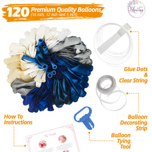 Load image into Gallery viewer, Navy Blue Balloon Garland Kit | 120 Pack |  Navy Blue, Chrome Silver, White, Silver Confetti Balloons