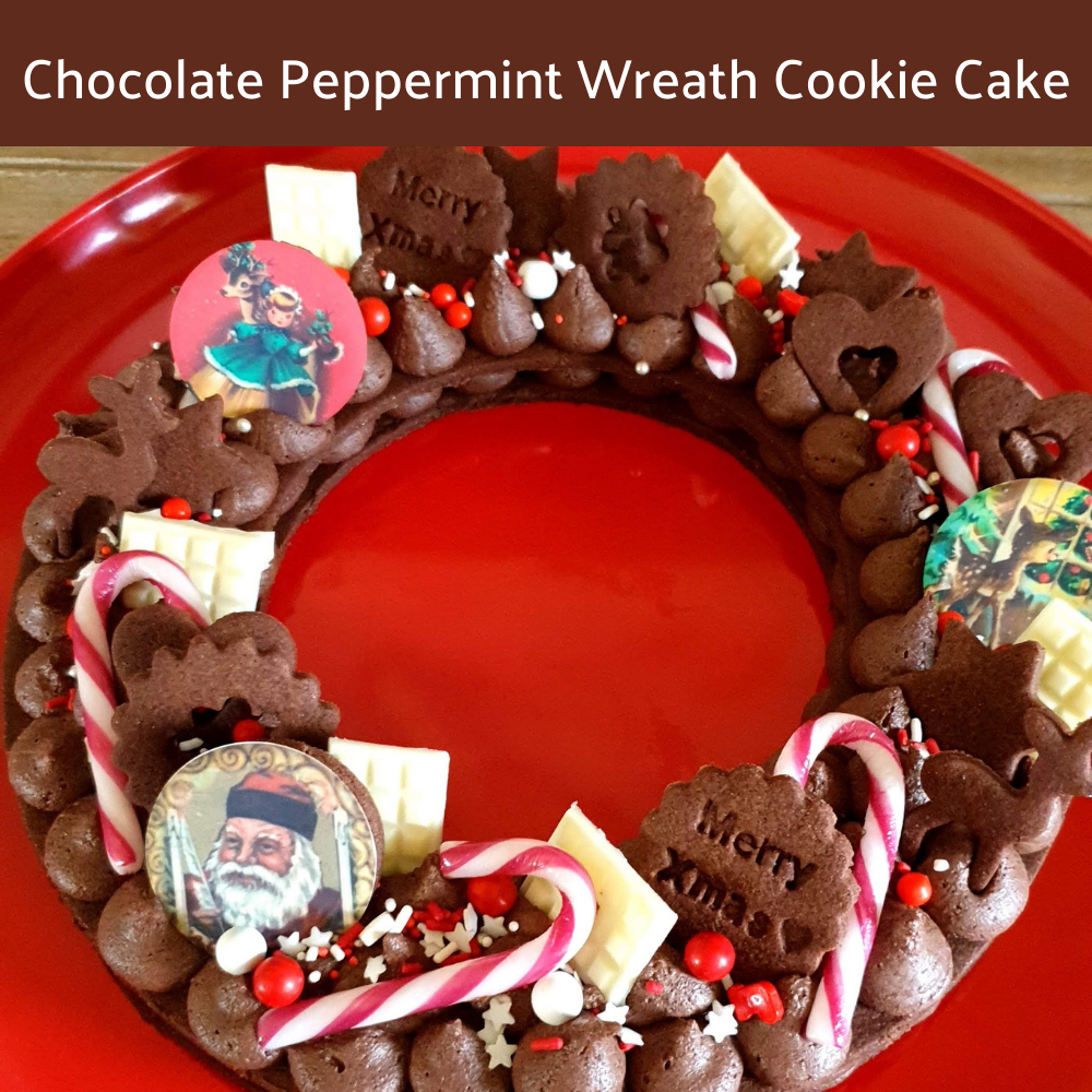 Chocolate Peppermint Wreath Cookie Cake Recipe
