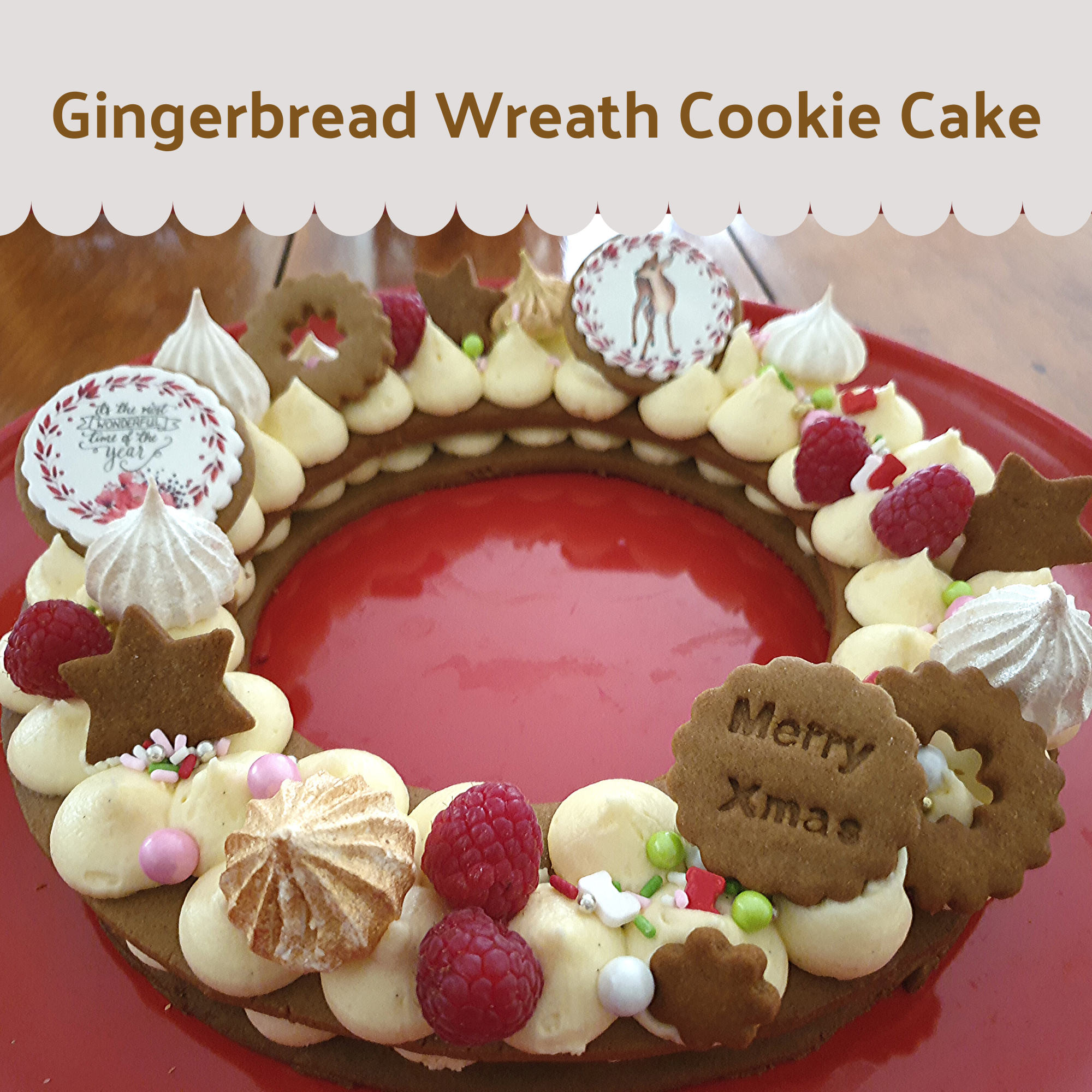 Christmas Wreath Gingerbread Cookie Cake