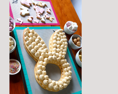 Image of Bunny Face Cookie Cake Ready for Toppers