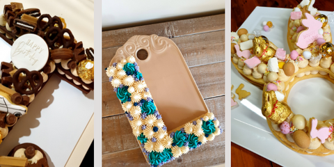 Images of cookie cakes and cakes with caramel fudge buttercream frosting