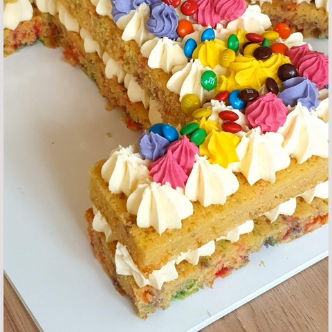 Close up image of funfetti number 1 cake
