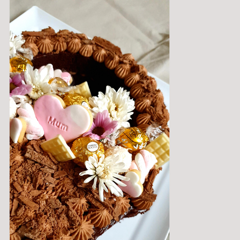 Close up image of Mother's Day Cake showing cake topper details