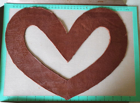 Extra Large Love Heart Cookie On Tray For Cookie Cake