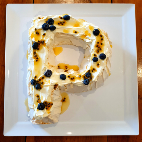 Letter P Pavlova With Fresh Cream and Fruit