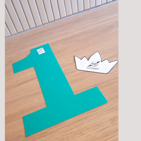 Image of number 1 reusable cookie cake template and print at home crown template