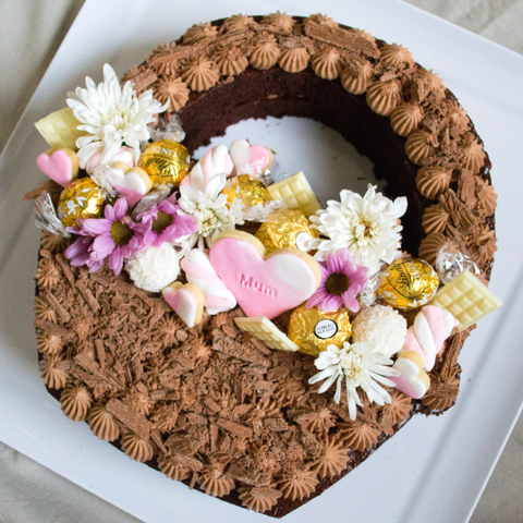 Mother's Day Cake Basket With Flowers and Chocolate Toppers and Chocolate Cheesecake Frosting