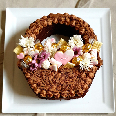 Flower Basket Cake For Mothers Day made using my print at home basket stencil