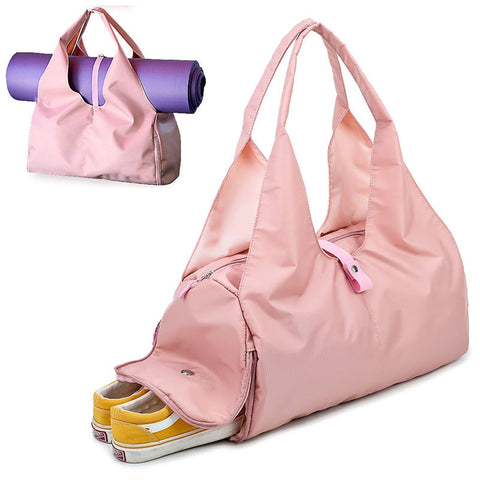 Image of Travel Yoga Gym Bag for Women, Carrying Workout Gear, Makeup, and Accessories, Shoe Compartment and Wet Dry Storage Pockets