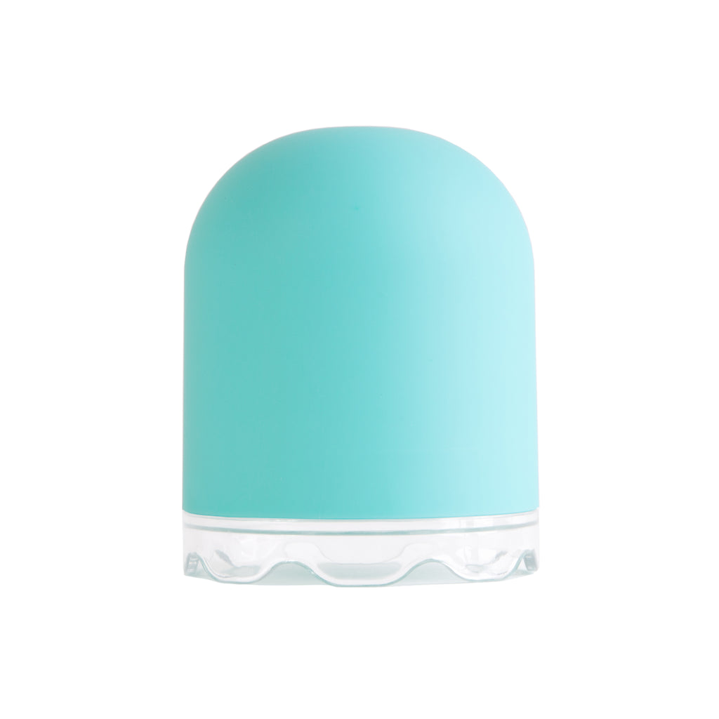 Light blue plastic menstrual cup container with clear base