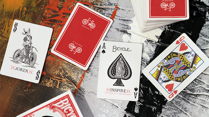 Bicycle Inspire Playing Cards - Red - 52 Wonders Playing Cards Spielkarten Bicycle Fontaine Anyone Orbit Butterfly