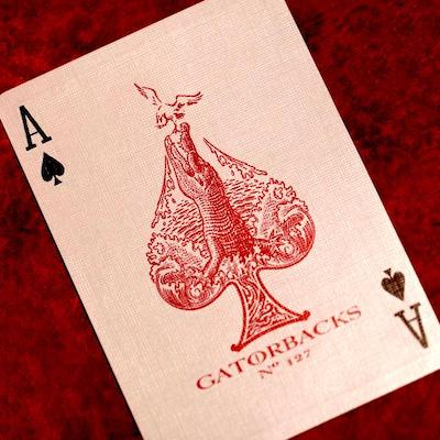 Red Metallic Gatorbacks Playing Cards - 52 Wonders Playing Cards Spielkarten Bicycle Fontaine Anyone Orbit Butterfly