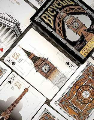 Bicycle Architectural Wonders Playing Cards - 52 Wonders Playing Cards Spielkarten Bicycle Fontaine Anyone Orbit Butterfly