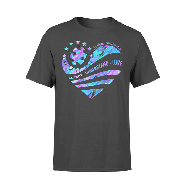 Autism Piece Awareness Accept Understand Love Colorful Heart T-shirt S - Piscentlit Stores