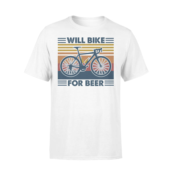 Bicycle Will Bike For Beer Vintage Retro T-shirt L - Piscentlit Stores