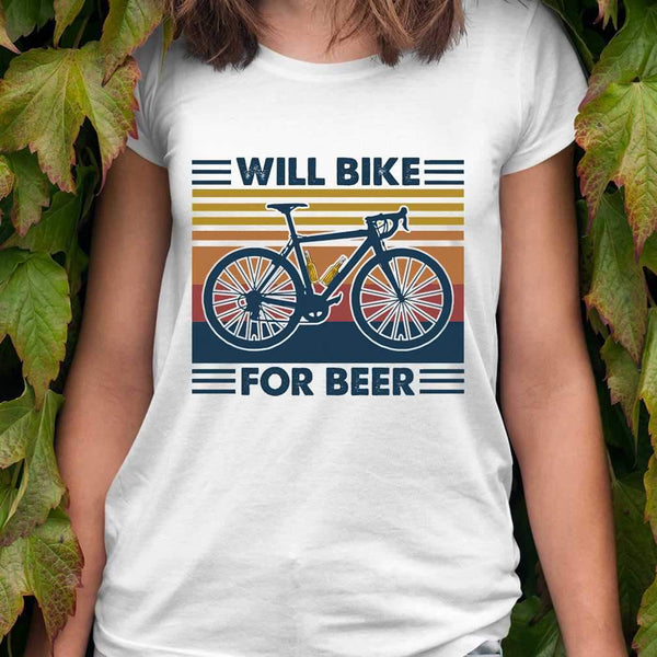 Bicycle Will Bike For Beer Vintage Retro T-shirt S - Piscentlit Stores