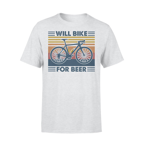 Bicycle Will Bike For Beer Vintage Retro T-shirt XL - Piscentlit Stores