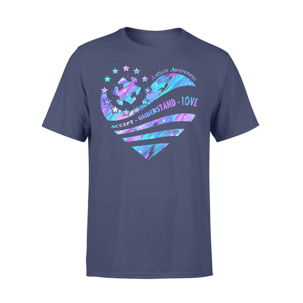 Autism Piece Awareness Accept Understand Love Colorful Heart T-shirt M - Piscentlit Stores