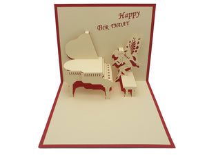 Happy Birthday Angel Playing a Piano Pop Up Card